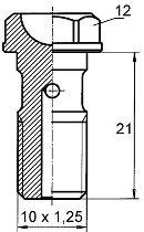 B&H Hohlschr. kurz M10x1,25 Alu, 21mm