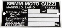 Moto Guzzi Identification plate SEIMM