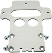 Battery base plate aluminium SD, 5mm with cut, silver