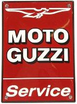 Moto Guzzi Tin-plate signe ´Service´ 10x14cm red, enamelle