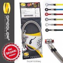 Spiegler Brake hose kit 4 pieces, black/silver - Moto Guzzi 850 T5 86´