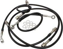 Spiegler Brake hose kit, 4 parts, black/silver - Moto Guzzi 850 T4