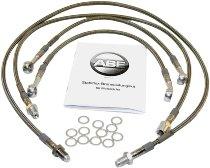 Spiegler Brake hose kit 4 pieces, w/o shrink hose, silver - Moto Guzzi 1000 California 3