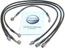 Spiegler Brake hose kit 4 pieces, w/o shrink hose, silver - Moto Guzzi 1000 LeMans 5 89-91