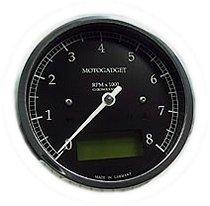 motogadget Chronoclassic 8 green LCD, black/polished