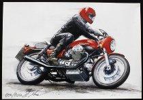 Holger Aue Poster, 50x70 cm signed - Moto Guzzi Le Mans 1