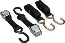 Locking tie downs 2 x 1,5m, black, with S-hooks (max. 1.500 lbs)