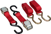 Locking tie downs 2 x 1,5m, red, with S-hooks (max. 1.500 lbs)