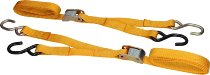 Locking tie downs 2 x 1,5m, yellow, with S-hooks (max. 1.500 lbs)