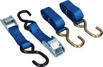Locking tie downs 2 x 1,5m, blue, with S-hooks (max. 1.500 lbs)