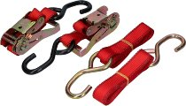 Ratchet tie downs 2 x 1.8m, red, with hooks up to 810kg (1,500 lbs)