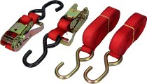 Ratchet tie downs 2 x 4,5m, red (max. 1.800 lbs)