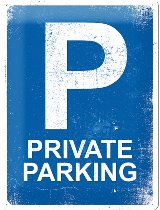 Tin-plate sign private parking, 30x40cm