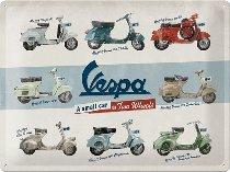 Vespa Tin-plate sign model chart, 30x40cm