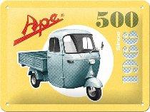 APE Tin-plate sign, 500 since 1966, 15x20cm