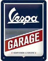 Vespa Tin-plate sign, garage 15 x 20 cm