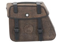 Hepco & Becker Leather single bag Rugged left for Cutout, Brown