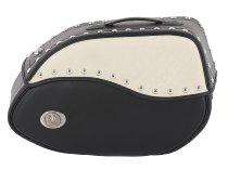 Hepco & Becker Leather single bag Ivory right for tube saddlebag carrier, Black / Ivory