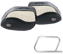 Hepco & Becker Leatherbags Ivory for tube saddlebag carrier, Black / Ivory