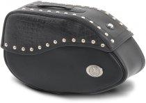 Hepco & Becker Leather single bag Ivory left for tube saddlebag carrier, Black