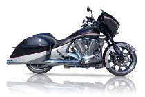 QD Exhaust V-Performance Twin Slip-On set, D.100mm, Euro 3, Ring End Cap, Chrome - Victory X-Country